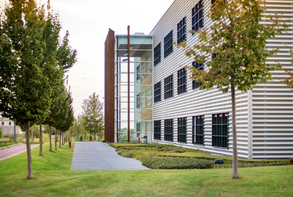 Vimercate, Lombardy, Italy - October 8, 2018 : Modern Office Blo